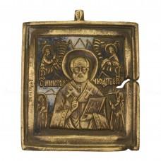 Икона плакетка с эмалью «Святитель Николай с предстоящими святыми»