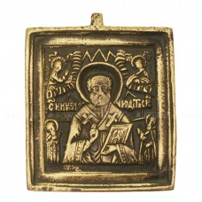 Икона плакетка «Святитель Николай с предстоящими святыми»
