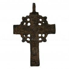 Нательный крест «Мужской с белой эмалью и квадратами», pic. 1