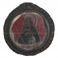 Стеклянная ладанка «Богородица в короне и Иоанн Святогорский»