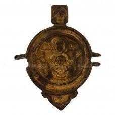Позолоченная створка панагии «Богоматерь Знамение (Оранта)»