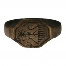 Перстень с щитком-восьмигранником «Ладья с вёслами»