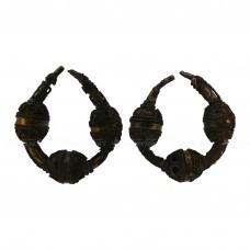 Пара трёхбусинных бронзово-серебряных височных колец с позолотой, pic. 1