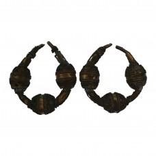 Пара трёхбусинных бронзово-серебряных височных колец с позолотой