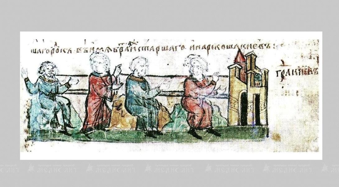 Мужские костюмы XII века дополняют сапоги