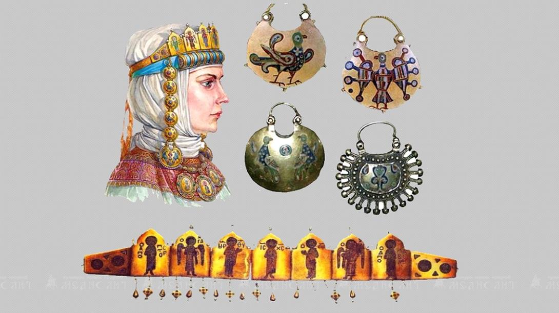 Парадный костюм княгини с украшениями из эмали